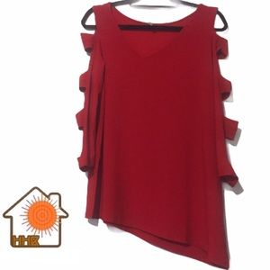 Last Tango Asymmetrical Red LongSleeve Top